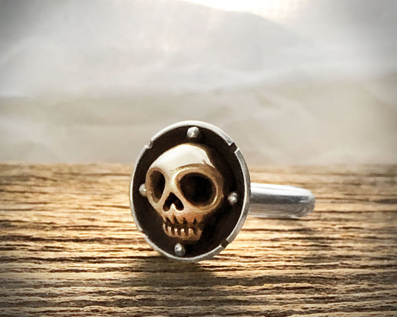 Sterling Silver and Bronze Skull Ring