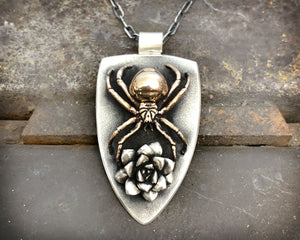 Black Widow Spider Necklace in Bronze and Sterling Silver
