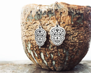 Little Sugar Skull Earrings in Sterling Silver