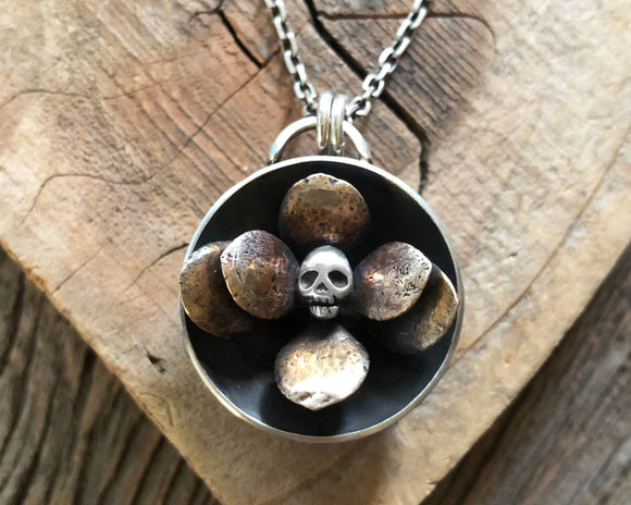 Skull Flower Necklace in Sterling Silver and Bronze