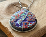 Purple, Green and Red Fordite Necklace in Sterling Silver