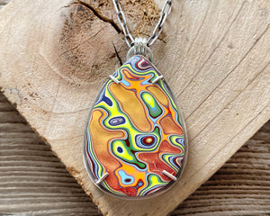 Orange and Yellow Fordite Necklace in Sterling Silver