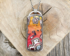 Orange and pink Fordite necklace in sterling silver, Detroit Agate statement jewelry