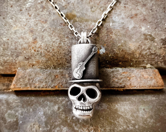 Rock and Roll Skull Necklace in Sterling Silver