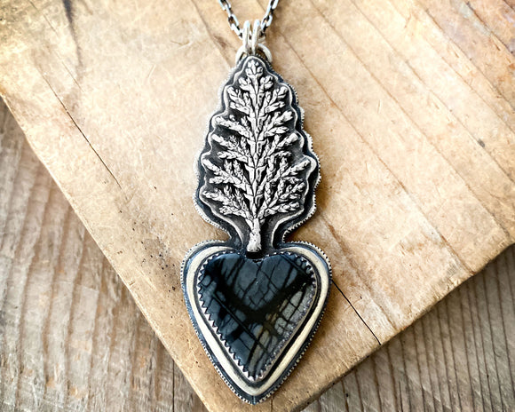 Tree Necklace with Picasso Marble Heart in Sterling Silver