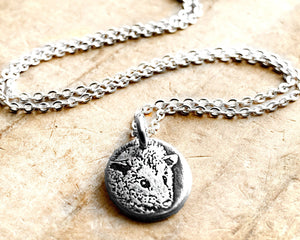 Tiny Silver Opossum Necklace