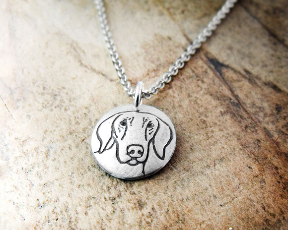 Tiny Weimaraner Necklace in Silver