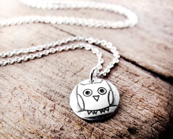 Tiny Owl Necklace in Silver