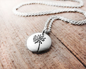 Tiny Dandelion Necklace in Silver
