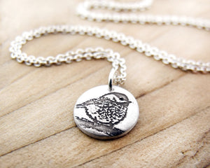 Tiny Chickadee Necklace in Silver