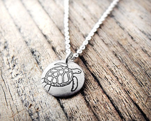 Tiny Sea Turtle Necklace in Silver