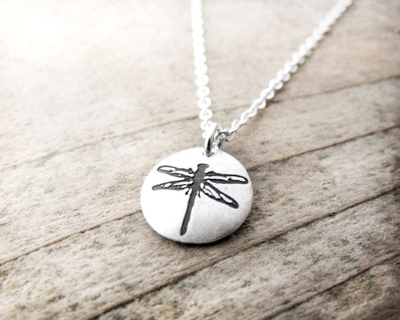 Tiny Dragonfly Necklace in Silver