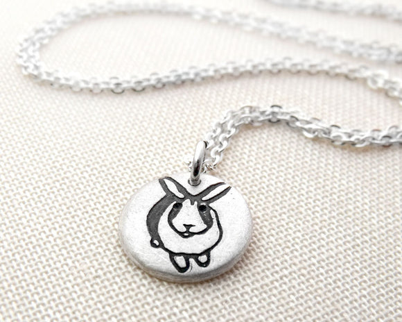 Tiny Silver Bunny Rabbit Necklace