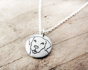 Tiny Yellow Labrador Retriever Necklace in Silver