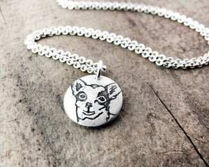 Tiny Chihuahua Necklace in Silver