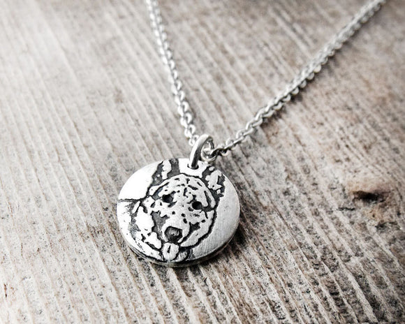 Tiny German Shepherd Necklace in Silver
