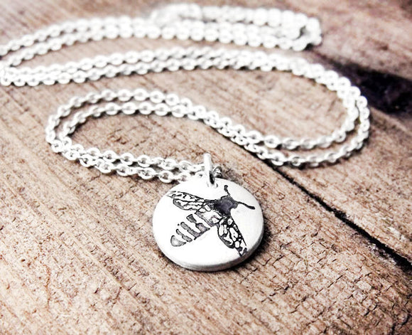 Tiny Honey Bee Necklace in Silver