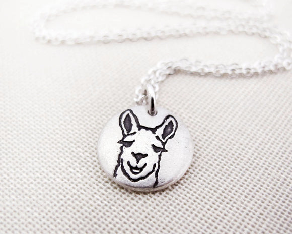 Tiny Llama Necklace in Silver
