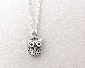 Very tiny owl necklace in sterling silver
