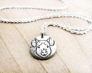 Tiny Pig Necklace in Silver