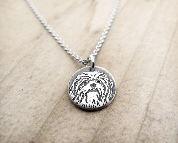 Tiny Shih Tzu Necklace in Silver