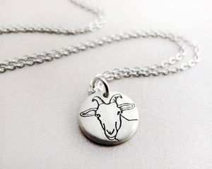Tiny  Dairy Goat Necklace in Silver