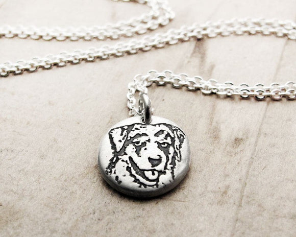 Tiny Australian Shepherd Necklace in Silver
