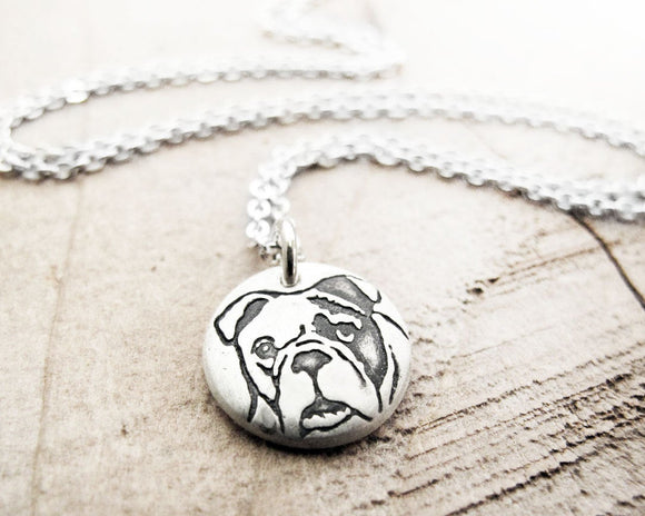 Tiny Bulldog Necklace in Silver