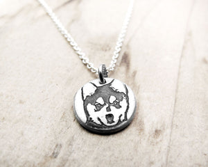 Tiny Alaskan Klee Kai Necklace in Silver