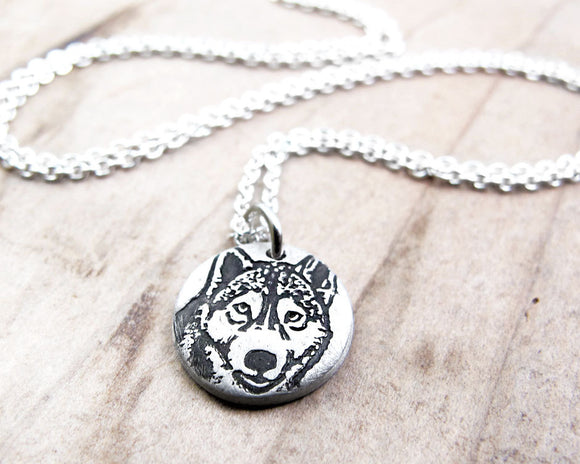 Tiny Husky Necklace in Silver