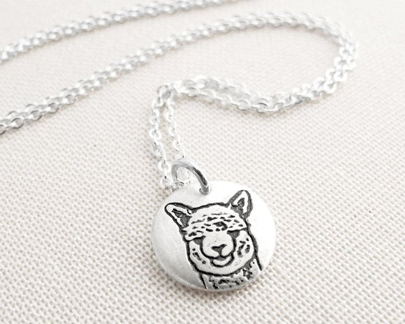 Tiny Alpaca Necklace in Silver