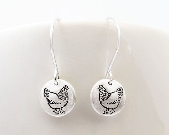 Tiny Chicken Earrings in Silver