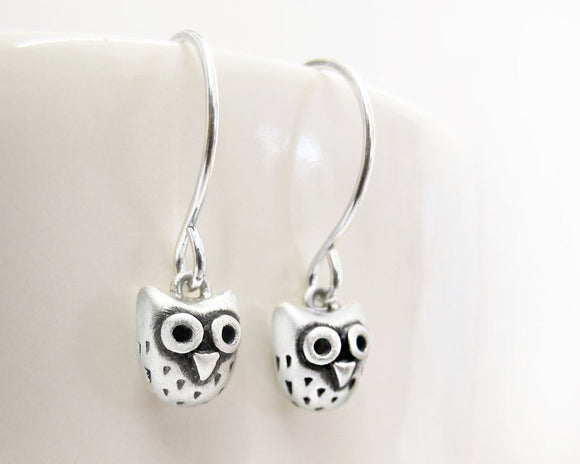 Very tiny owl earrings in sterling silver