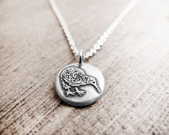 Tiny Kiwi Bird Necklace in Silver