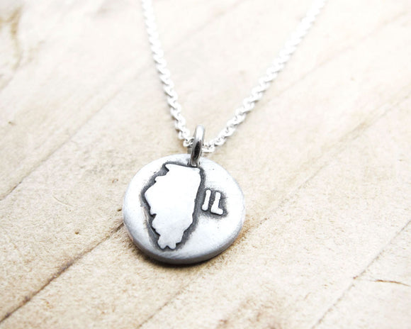 Tiny Illinois necklace in silver