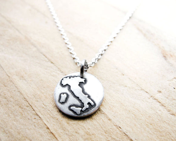 Tiny Map of Italy Necklace in Silver