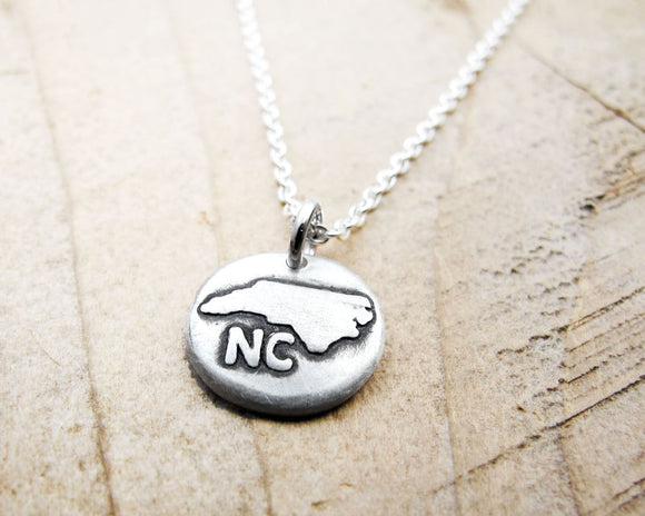 Tiny North Carolina Necklace in Silver