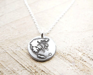 Tiny Map of Greece Necklace in Silver