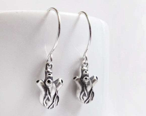 Very Tiny Anatomical Heart Earrings in Sterling Silver