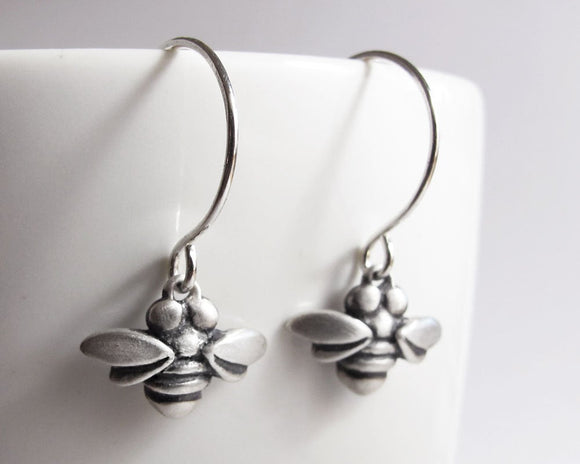 Very Tiny Bee Earrings in Sterling Silver