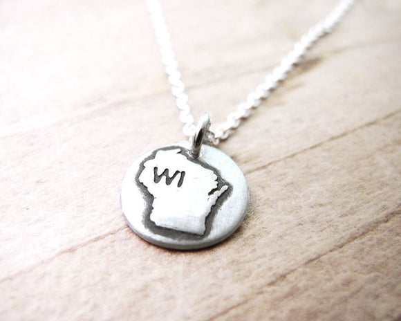 Tiny Wisconsin Necklace in Silver