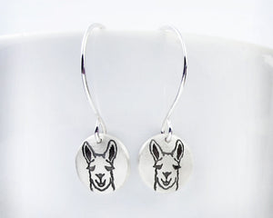 Tiny Llama Earrings in Silver