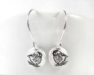 Tiny Chickadee Earrings in Silver