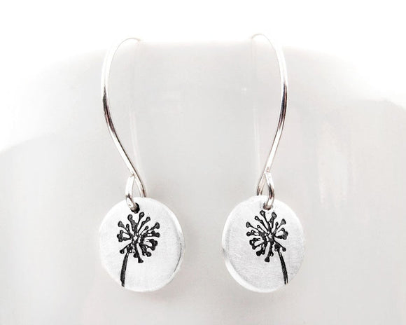 Tiny dandelion earrings in silver