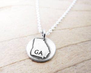 Tiny Map of Georgia Necklace in Silver