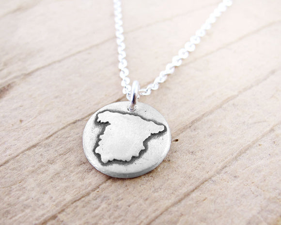 Tiny Map of Spain Necklace in Silver