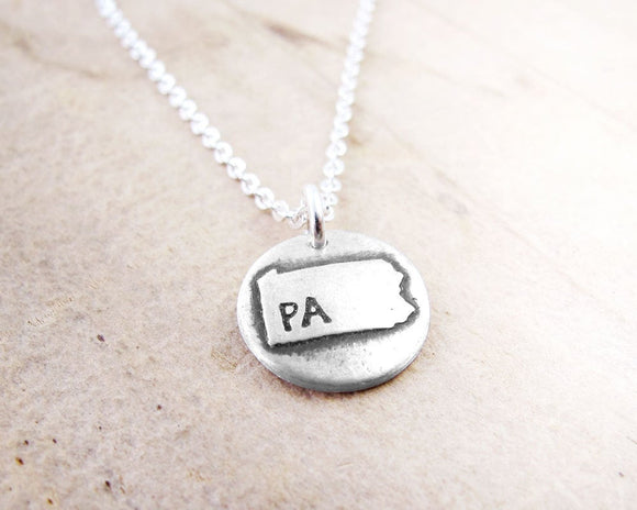 Tiny Pennsylvania map necklace in silver