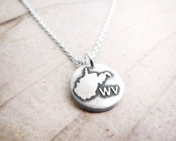 Tiny West Virginia necklace in silver