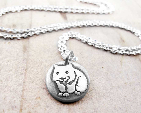 Tiny Silver Wombat Necklace