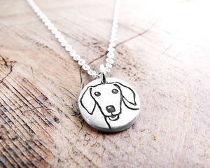 Tiny Doxie Necklace in Silver